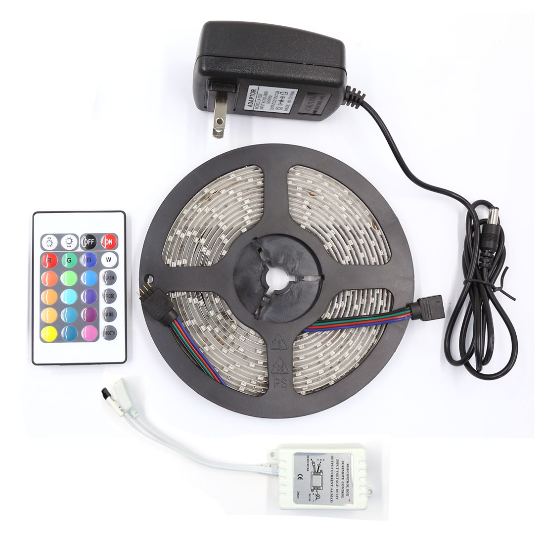 Waterproof 5M RGB 3528 SMD 300 LED Strip Light 24 Key AC100-240V US Plug