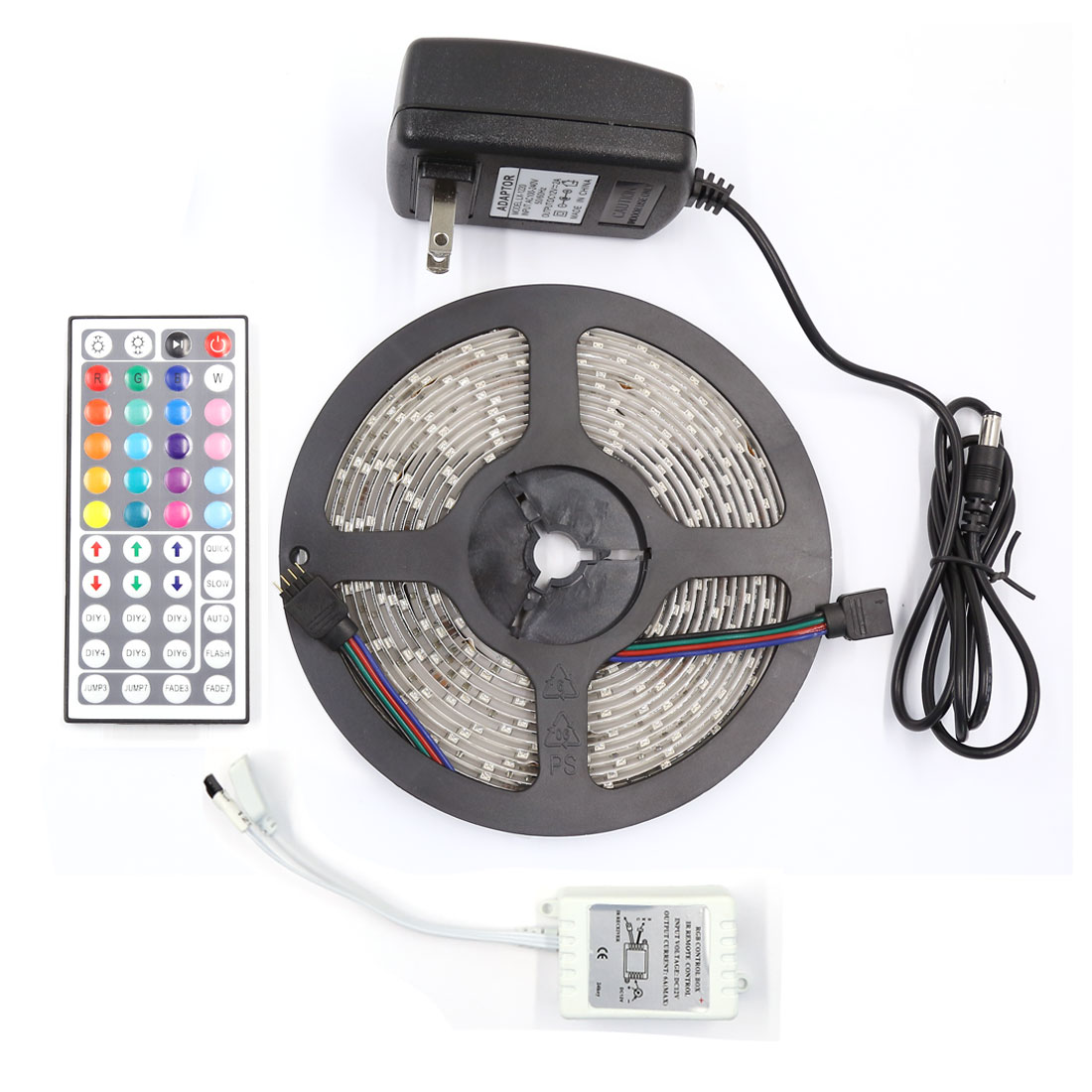 5M RGB 3528 SMD 300 LED Waterproof Strip Light 44 Key Remote AC100-240V US Plug