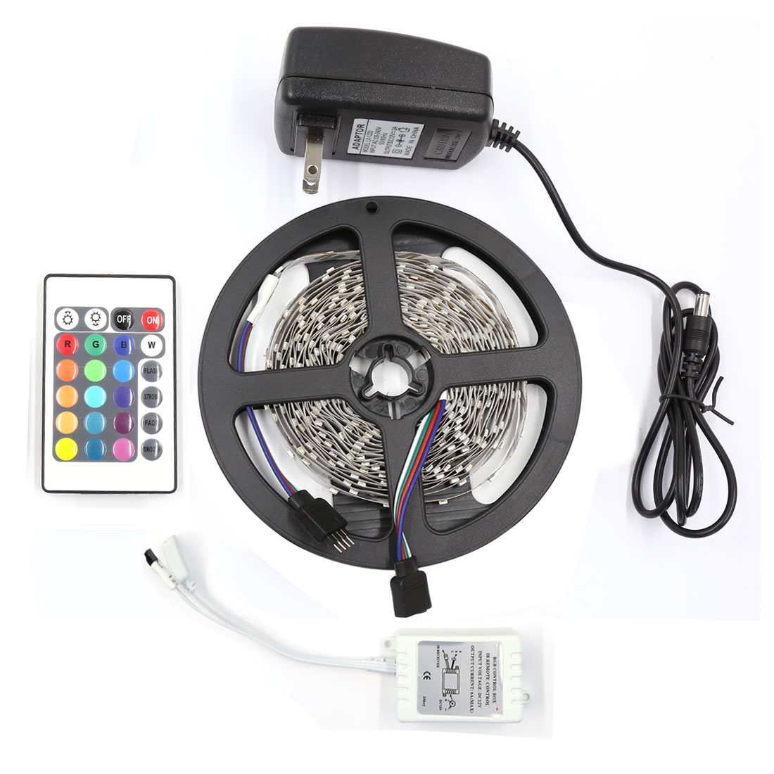 Non-Waterproof 5M RGB 3528 SMD 300 LED Strip Light 24 Key AC100-240V US Plug