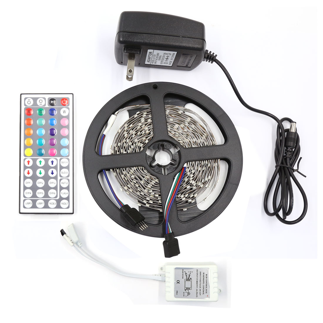 5M RGB 3528 SMD 300 LED Non-Waterproof Strip Light 44 Key Remote AC100-240V US Plug
