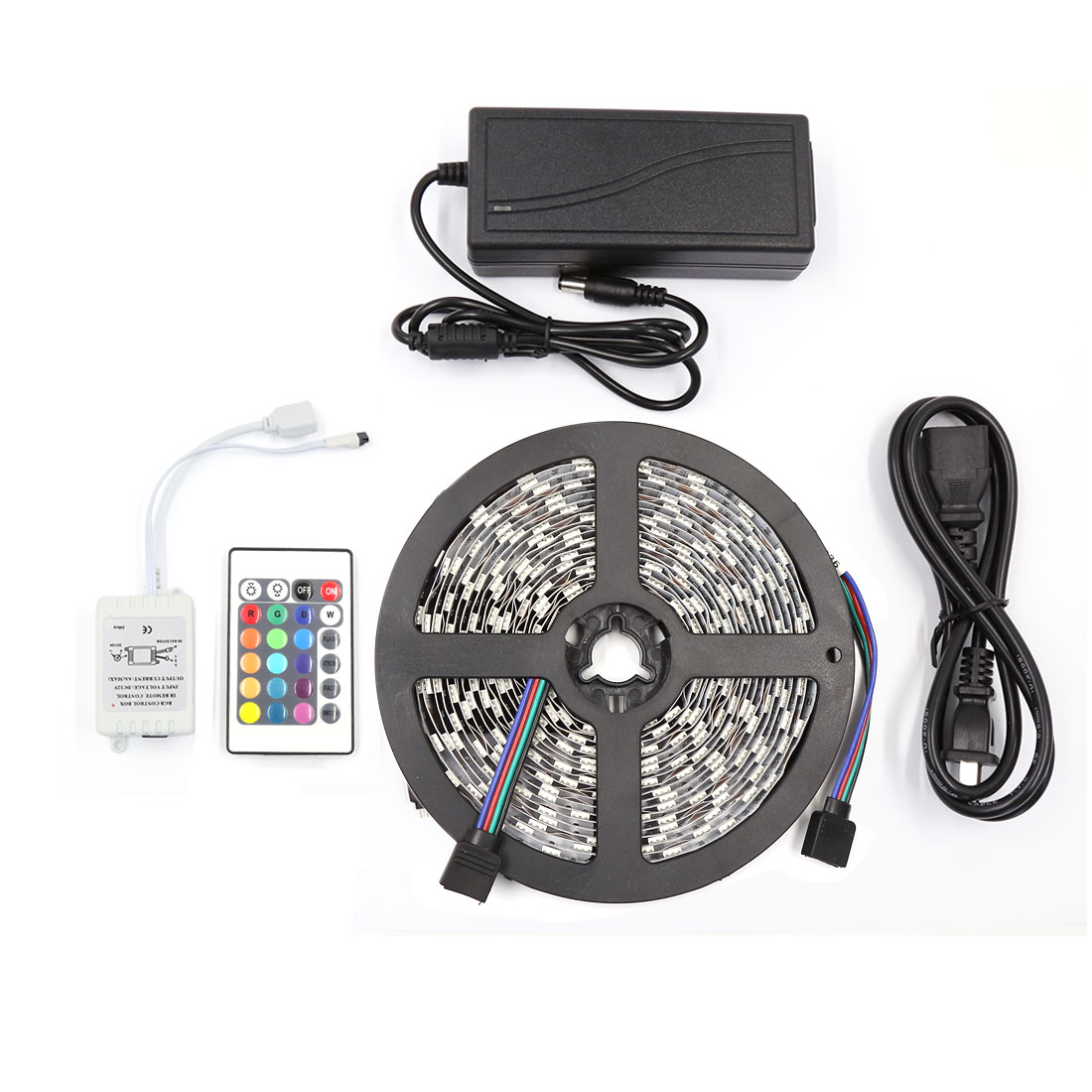 Non-Waterproof 5M RGB 5050 SMD 300 LED Strip Light 24 Key AC100-240V US Plug