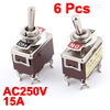 6Pcs AC250V 15A On/Off DPST 4 Screw Terminals Toggle Switch