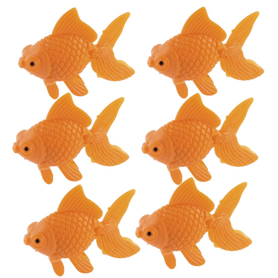 Aquarium Tank Plastic Artificial Swimming Fish Ornament Orange 6pcs