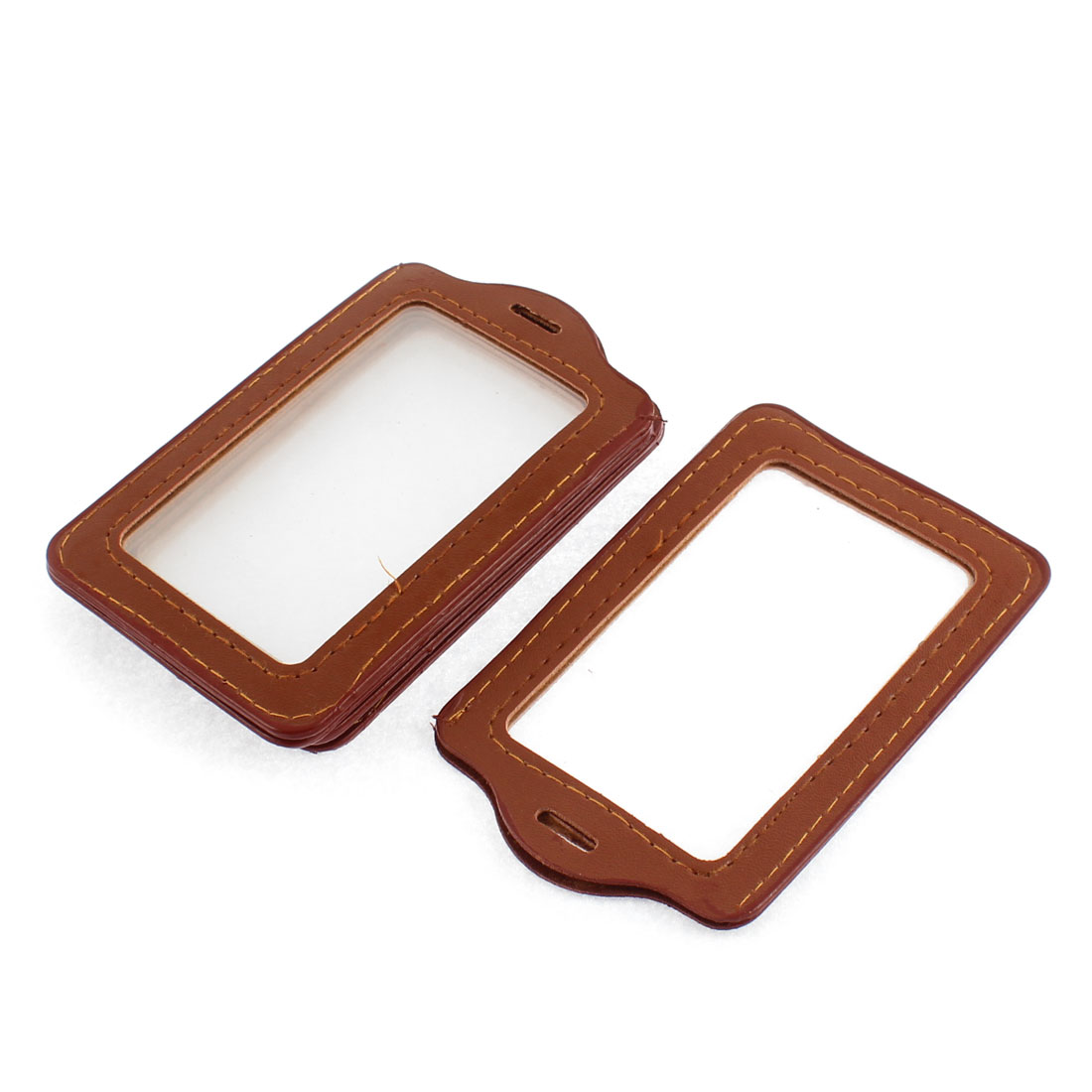 Clear Brown Plastic Vertical Badge ID Card Holder Pocket 5pcs