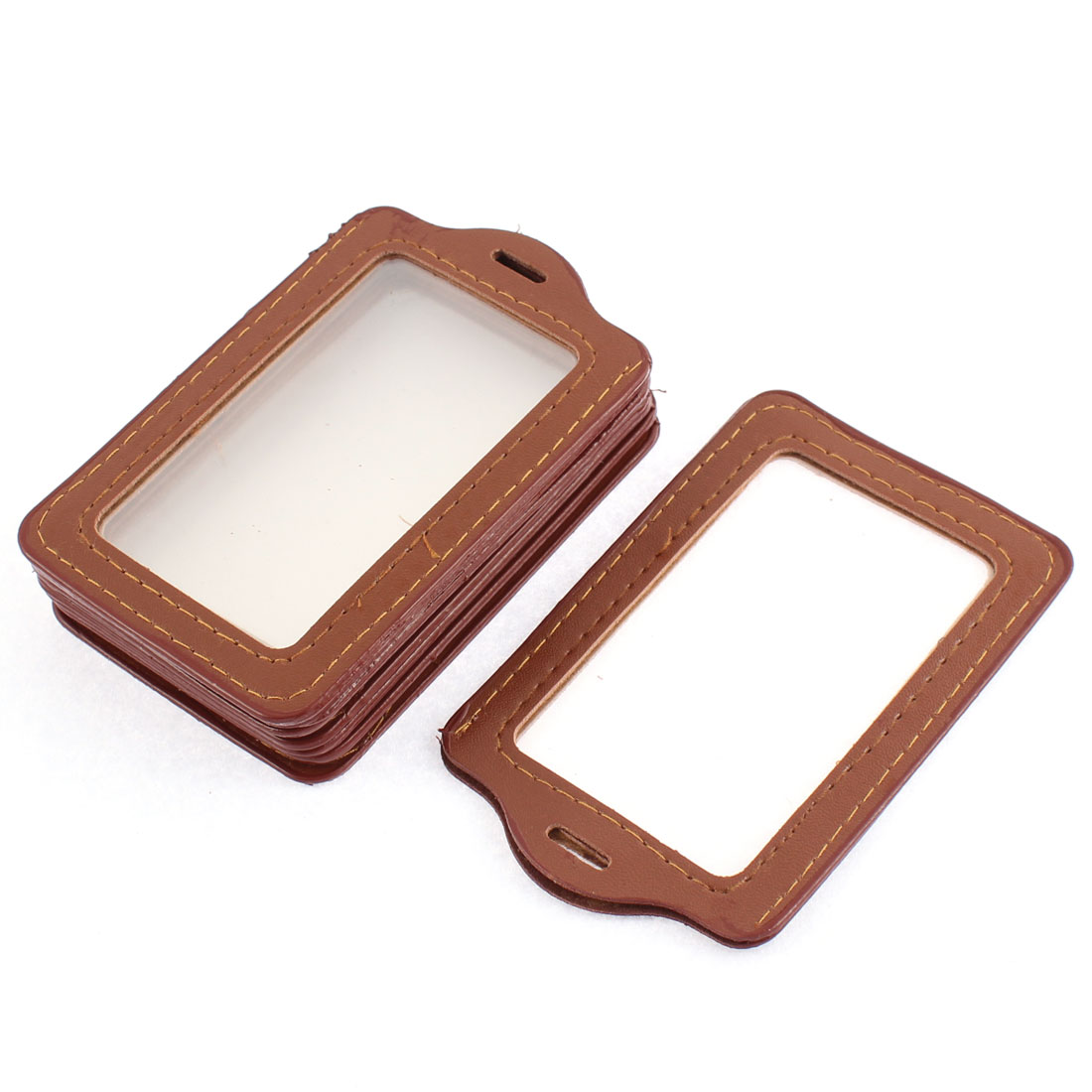 Clear Brown Vertical Bank Name ID Badge Card Holder Container 8pcs
