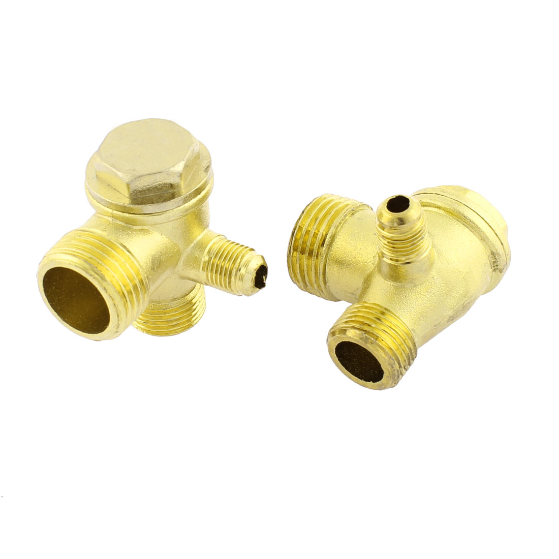 Air Compressor 3 Port Brass Tone Male Thread Check Valve Connector 2pcs