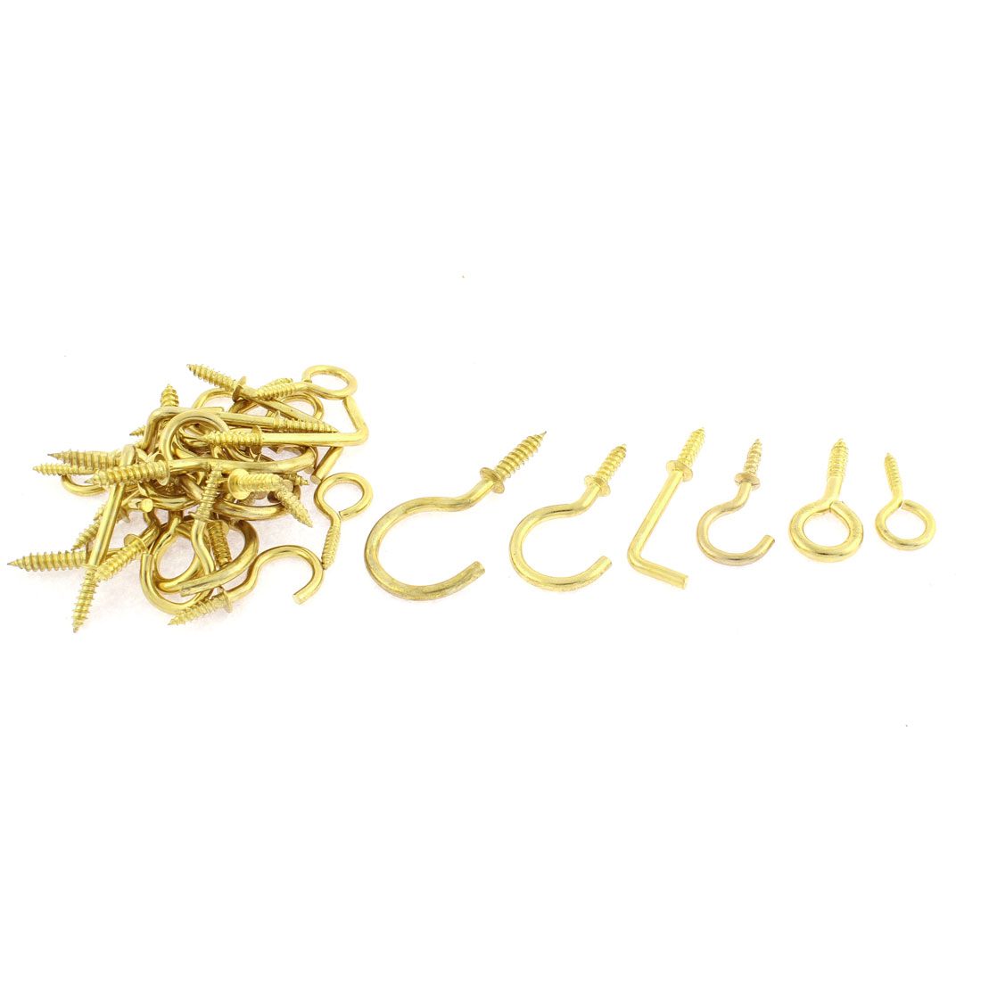 32pcs Gold Tone Eye Hook Open Screw L Shaped Bolt Assorted Set