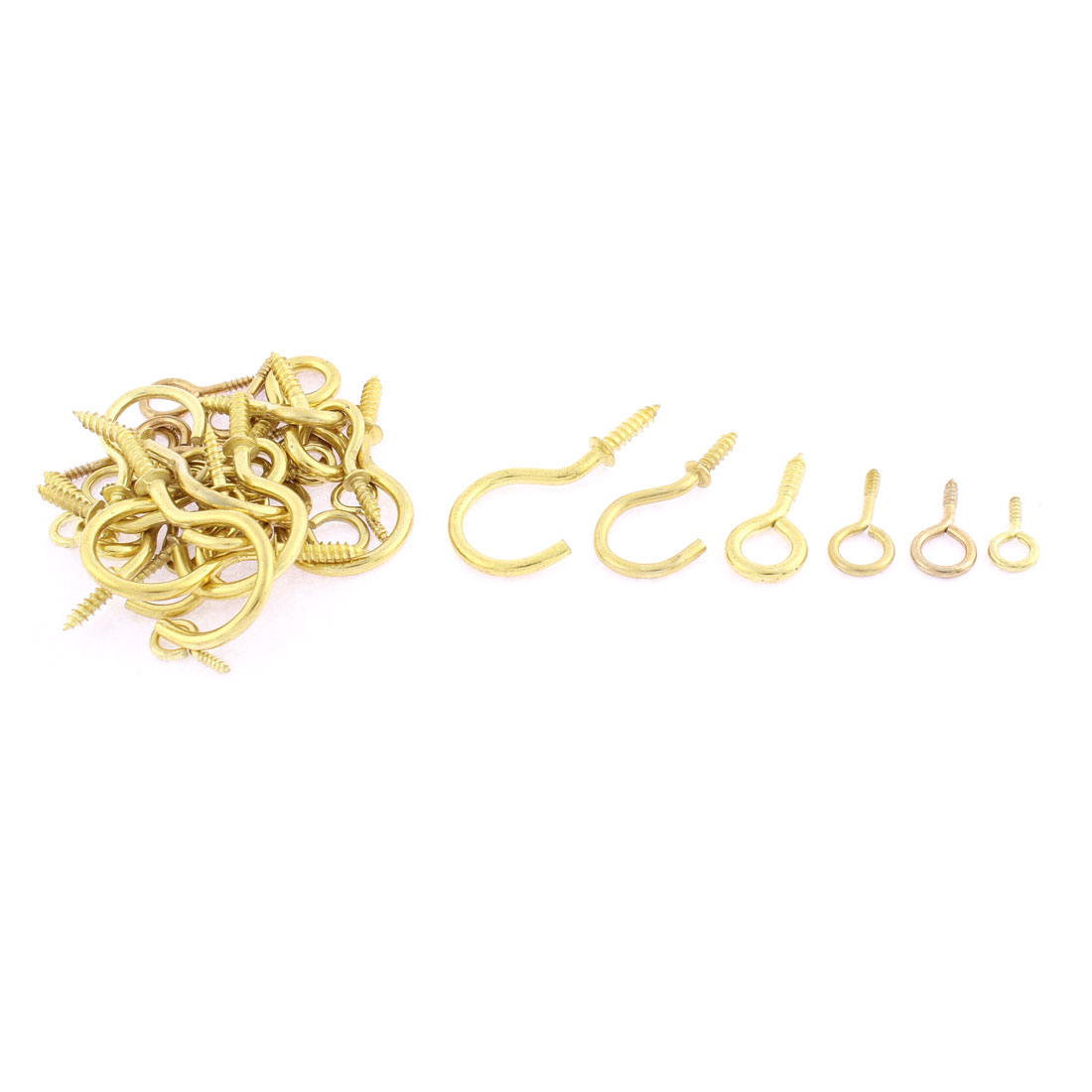 42pcs Gold Tone Eye Bolt Open Eyelet Hook Screws Assortment Set