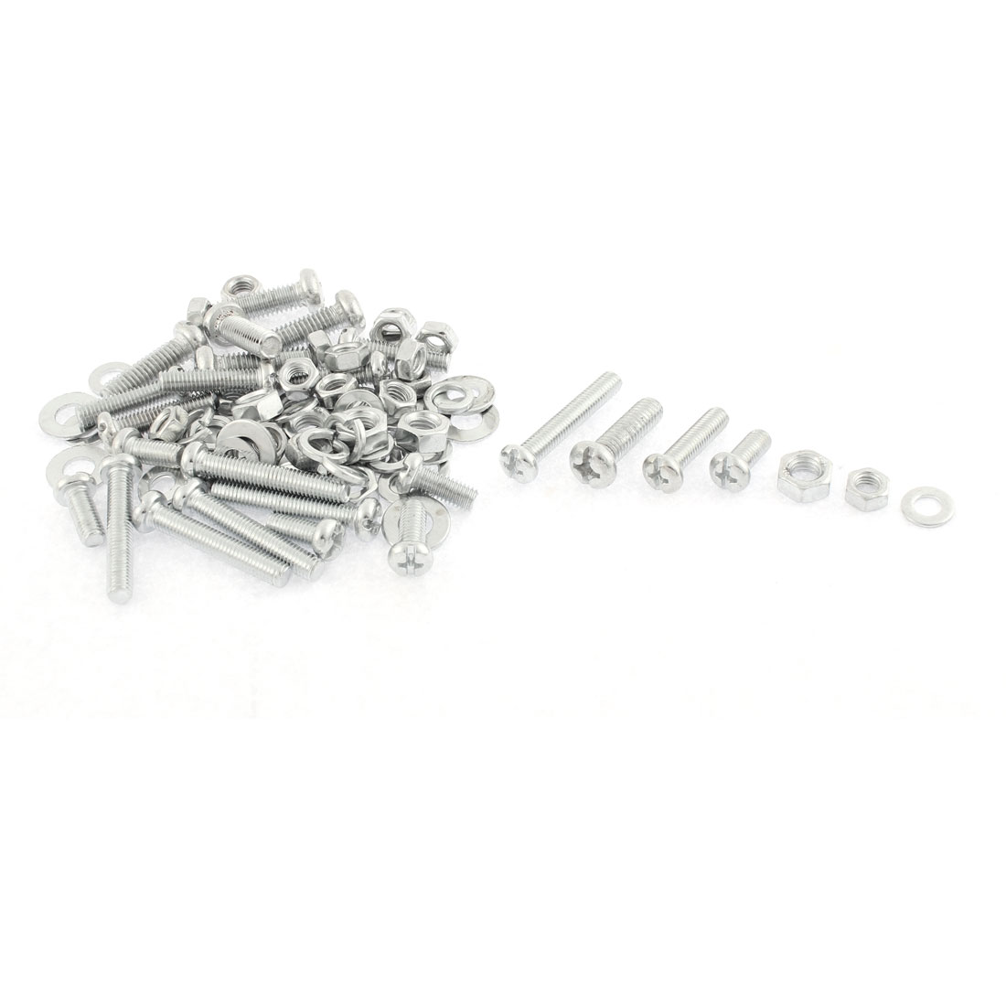 Stainless Steel Phillips Pan Head Screw Nut Washers Set Assortment Kit
