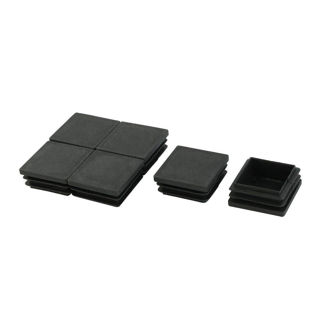 6pcs 40x40mm Black Plastic Chair Leg Square Tube Cap Insert Covers