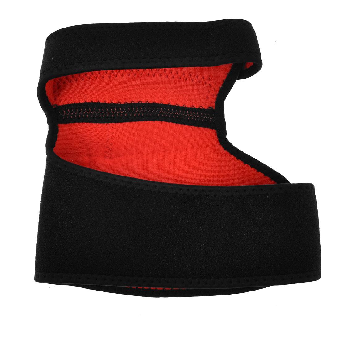 Adjustable Strap Sports Knee Support Brace Sleeve Wrap Black Red