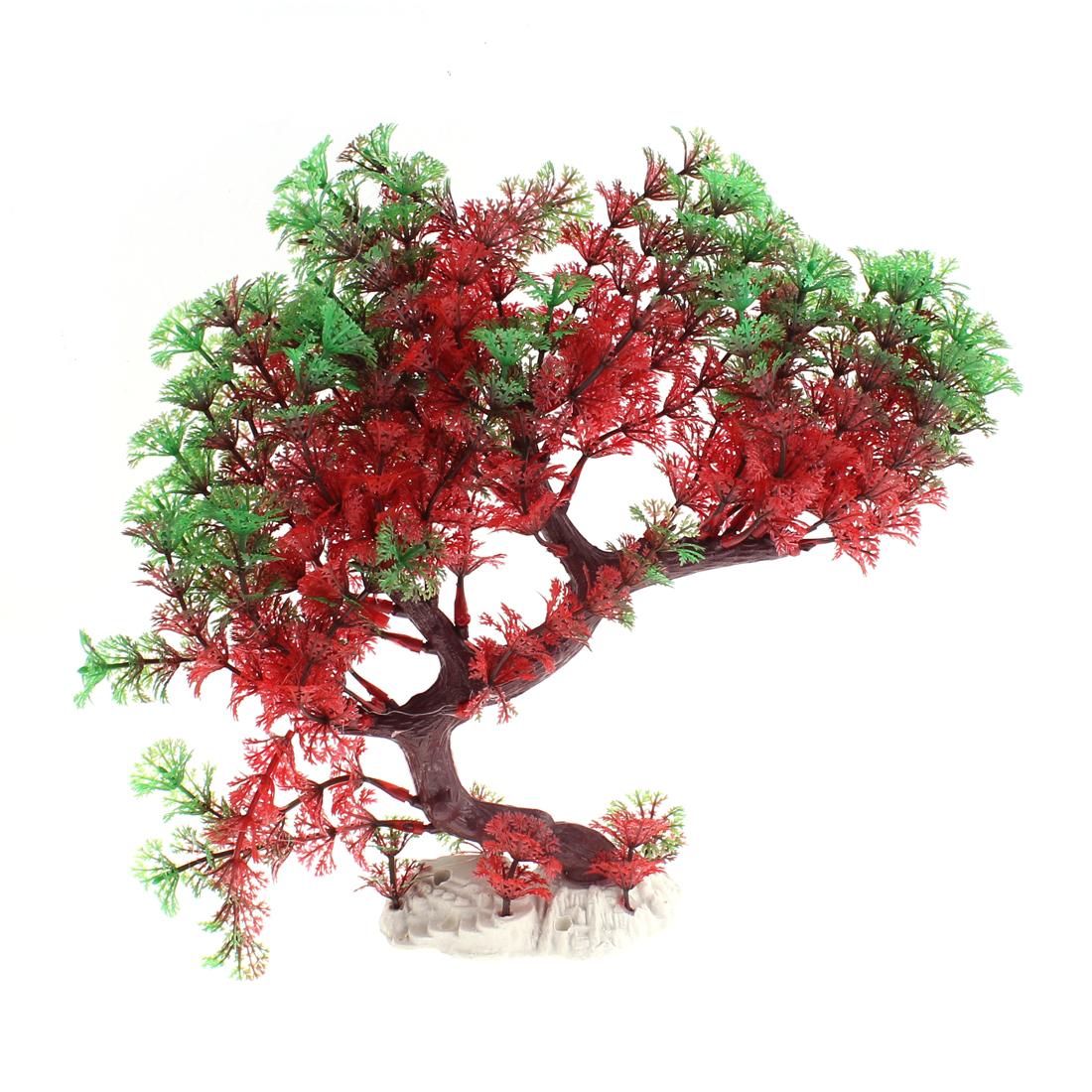 Aquarium Tank Artifical Water Grass Tree Plant Ornament Green Red