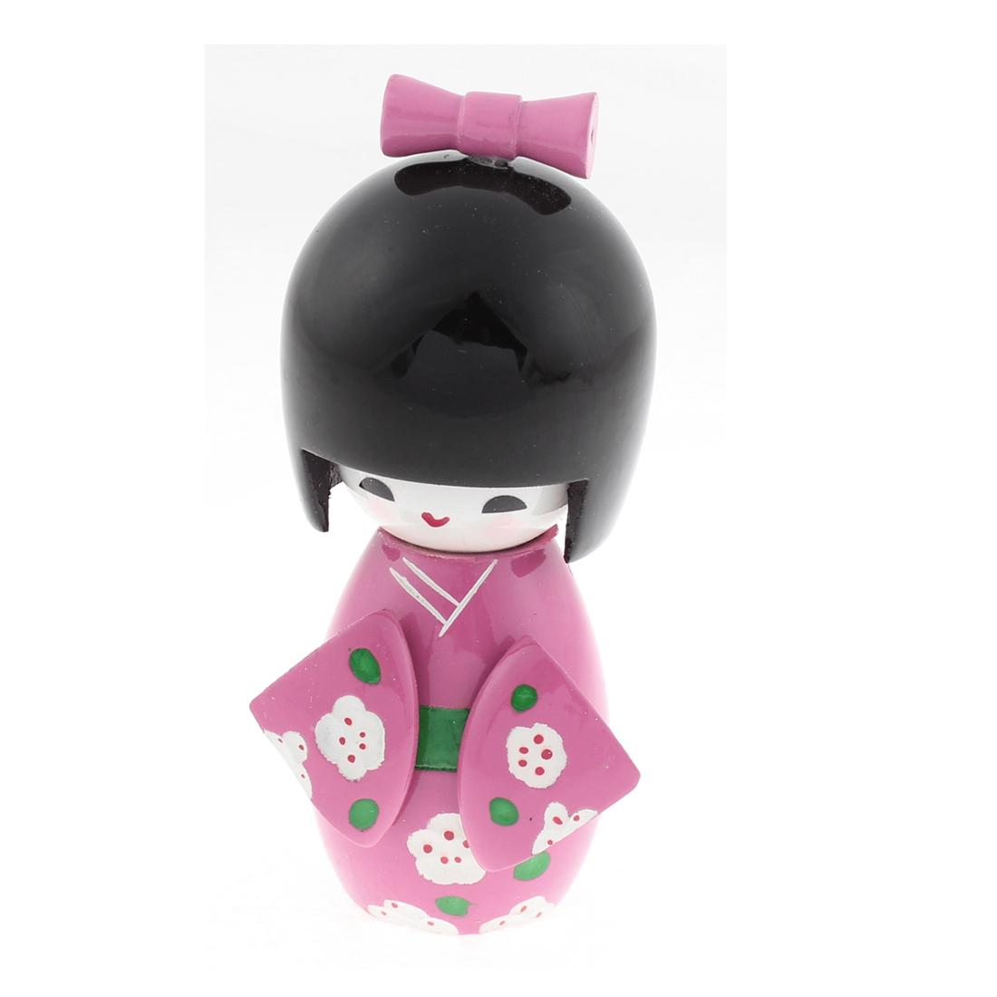 Handmade Japanese Kokeshi Wooden Girl Doll 11cm Height DIY Craft