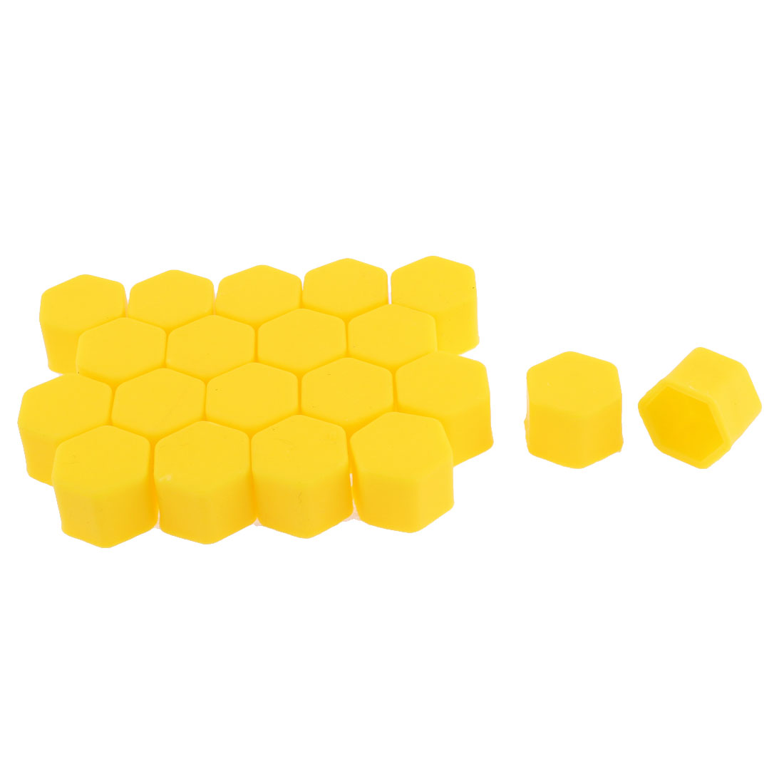 Yellow Wheel Tyre Screw Hub Cover Protective Cap 19mm 20pcs