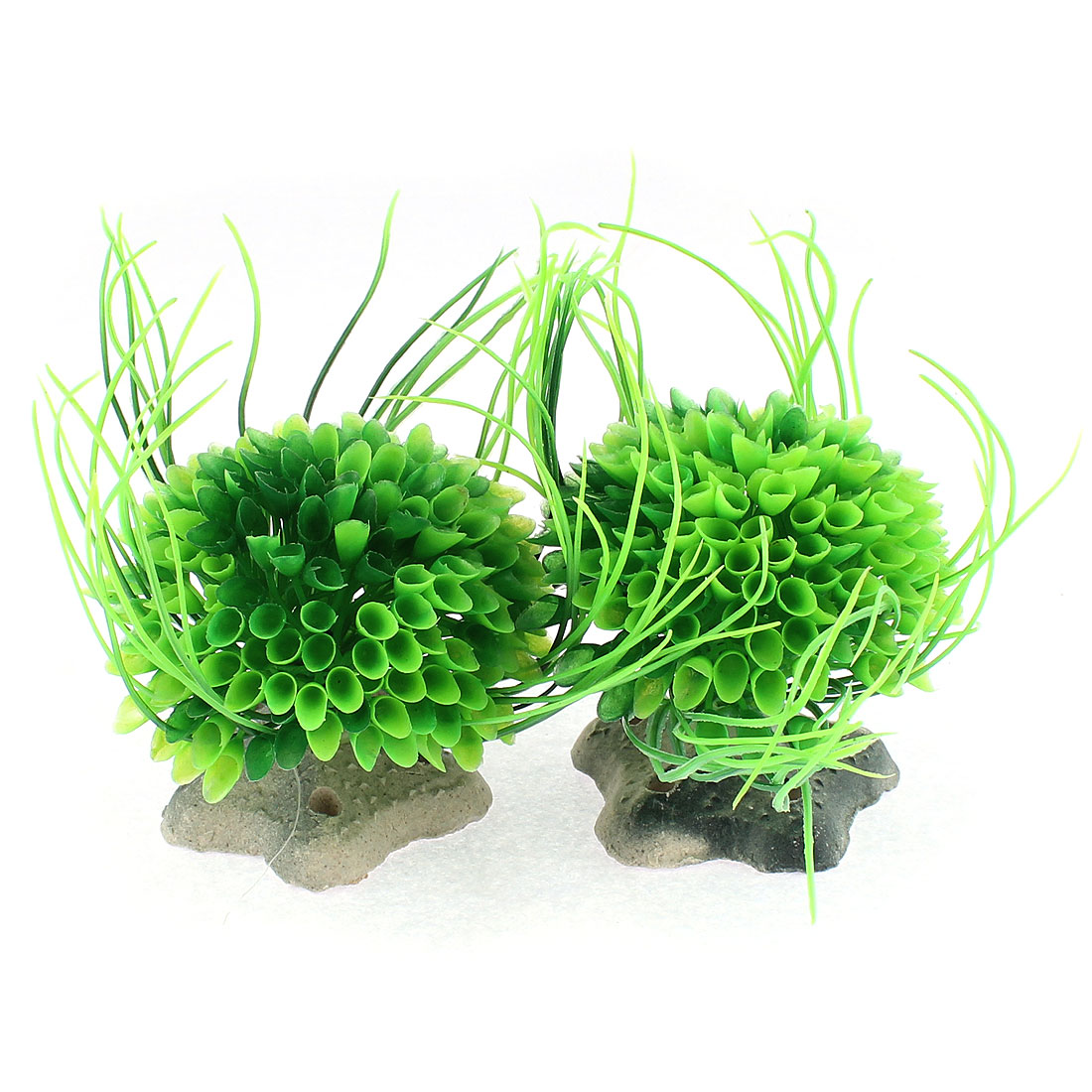 Aquarium Green Plastic Ball Flower Shape Plant Ornament