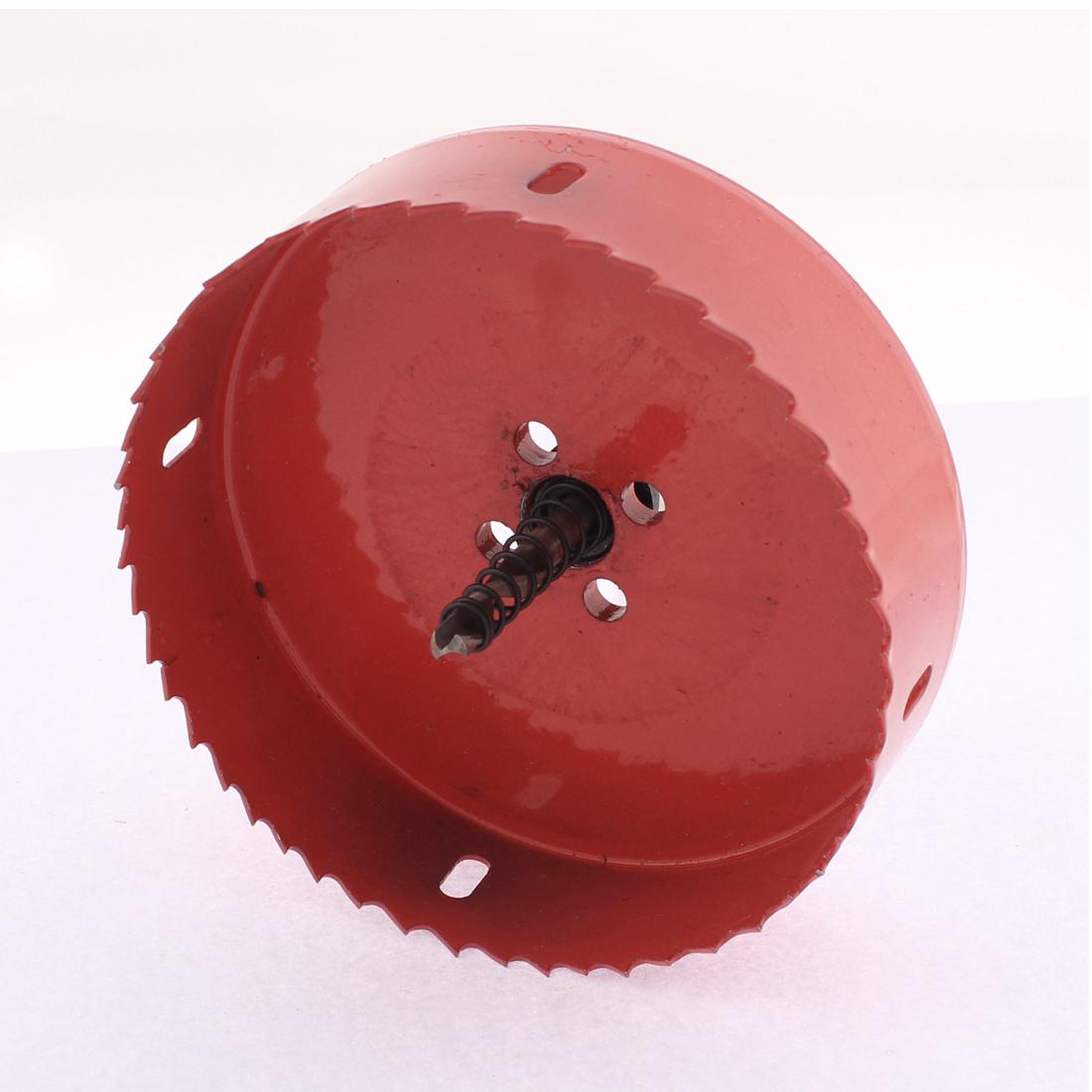 Aluminum Iron Wood 120mm HSS Bi-Metal Hole Saw Cutter Drill Bit Red