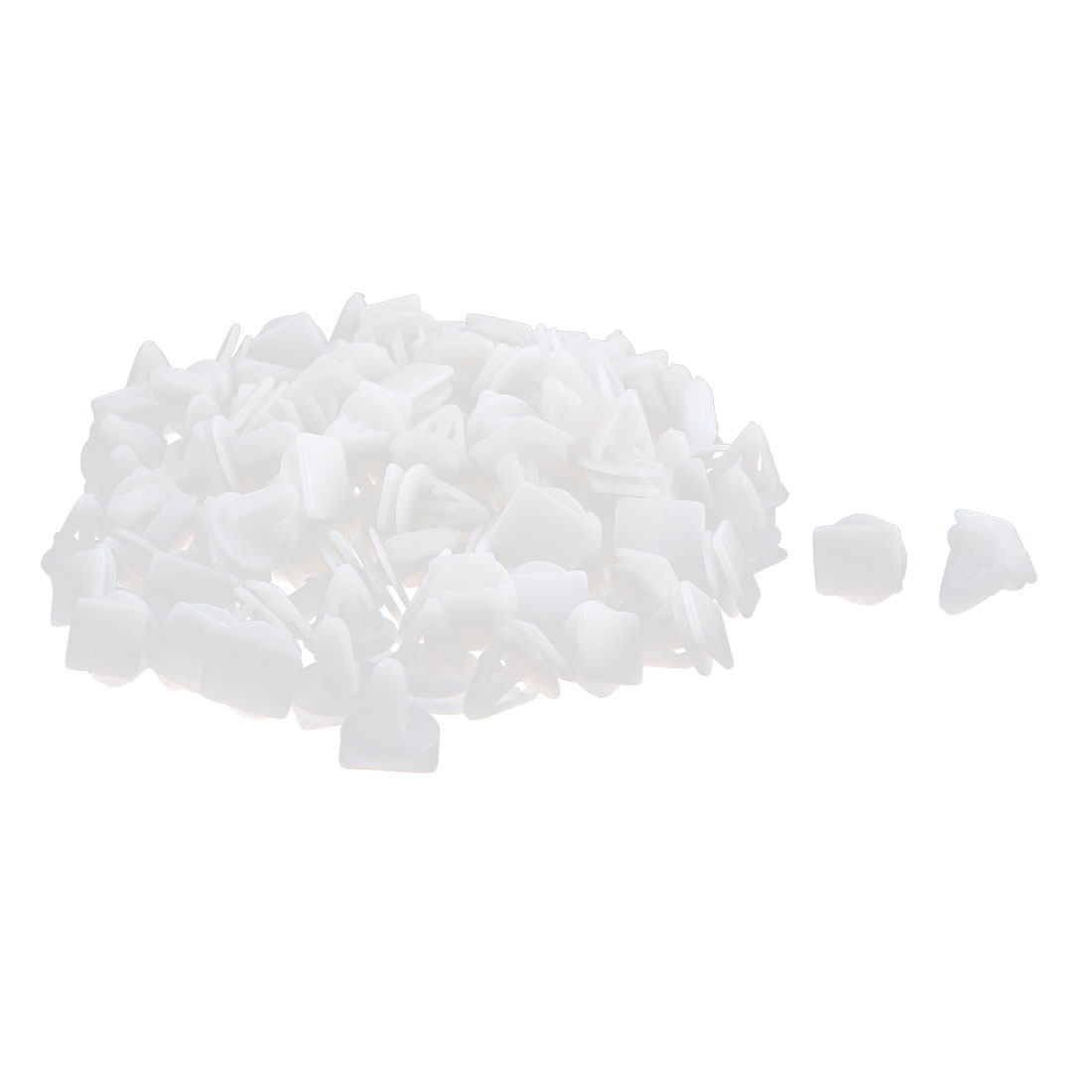 100pcs White Plastic Moulding Trim Rivets Snap Fastener Clips 10mm Hole