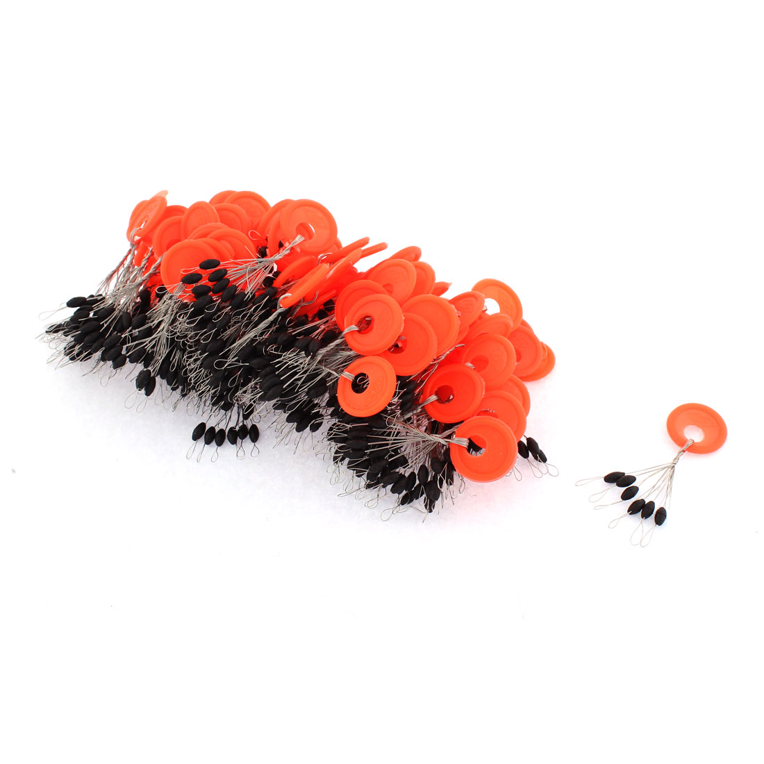 Oval Shape Black Bead Fishing Stopper Floating Bobber Tackle 100pcs