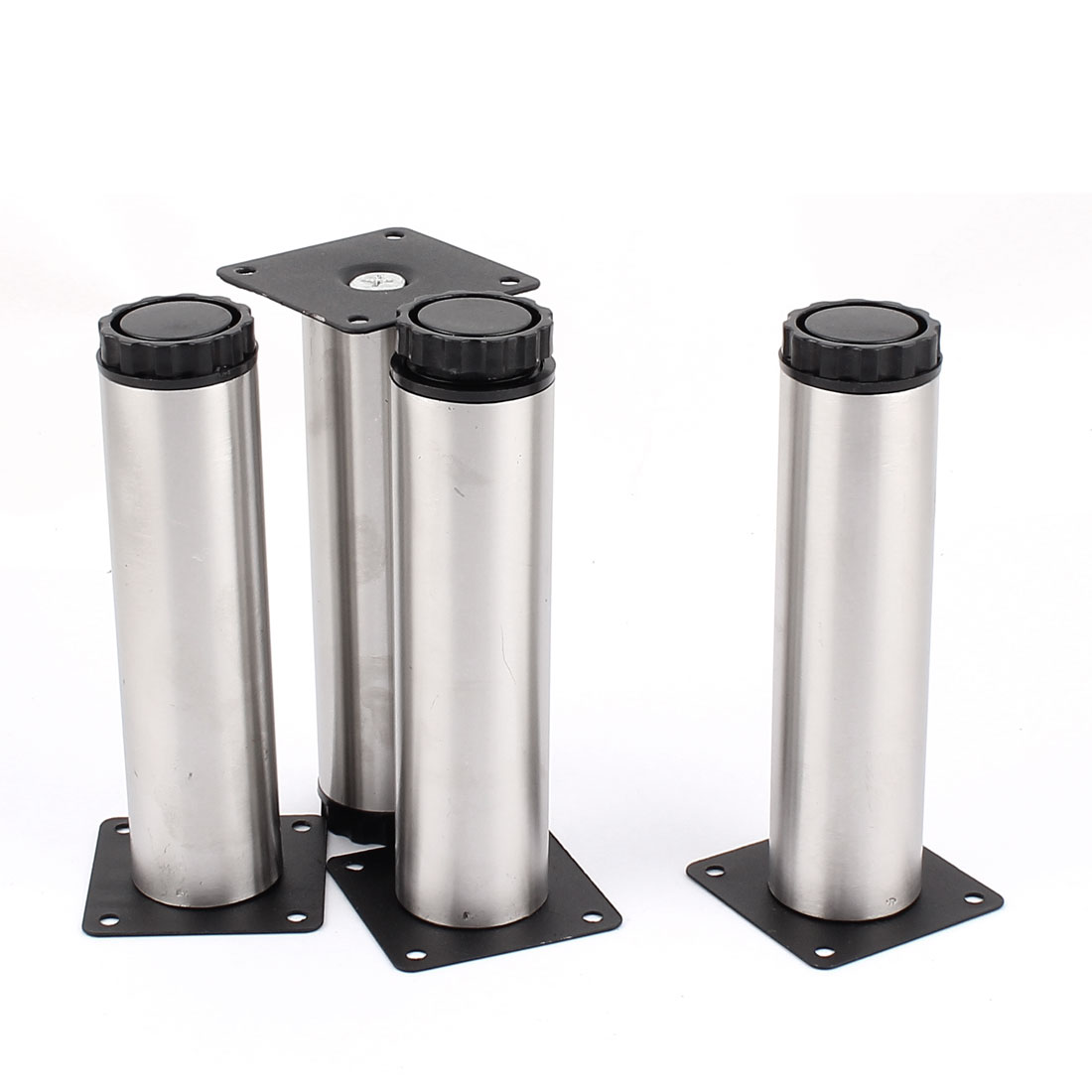 Sofa Chair Tea Table Bed 38mm x 150mm Adjustable Cabinet Leg Silver Tone 4pcs