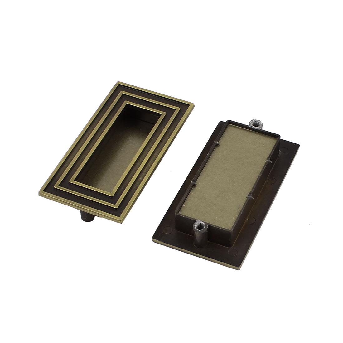 Cabinet Warehouse Drawer Metal Hidden Concealed Door Handle Bronze Tone 2pcs