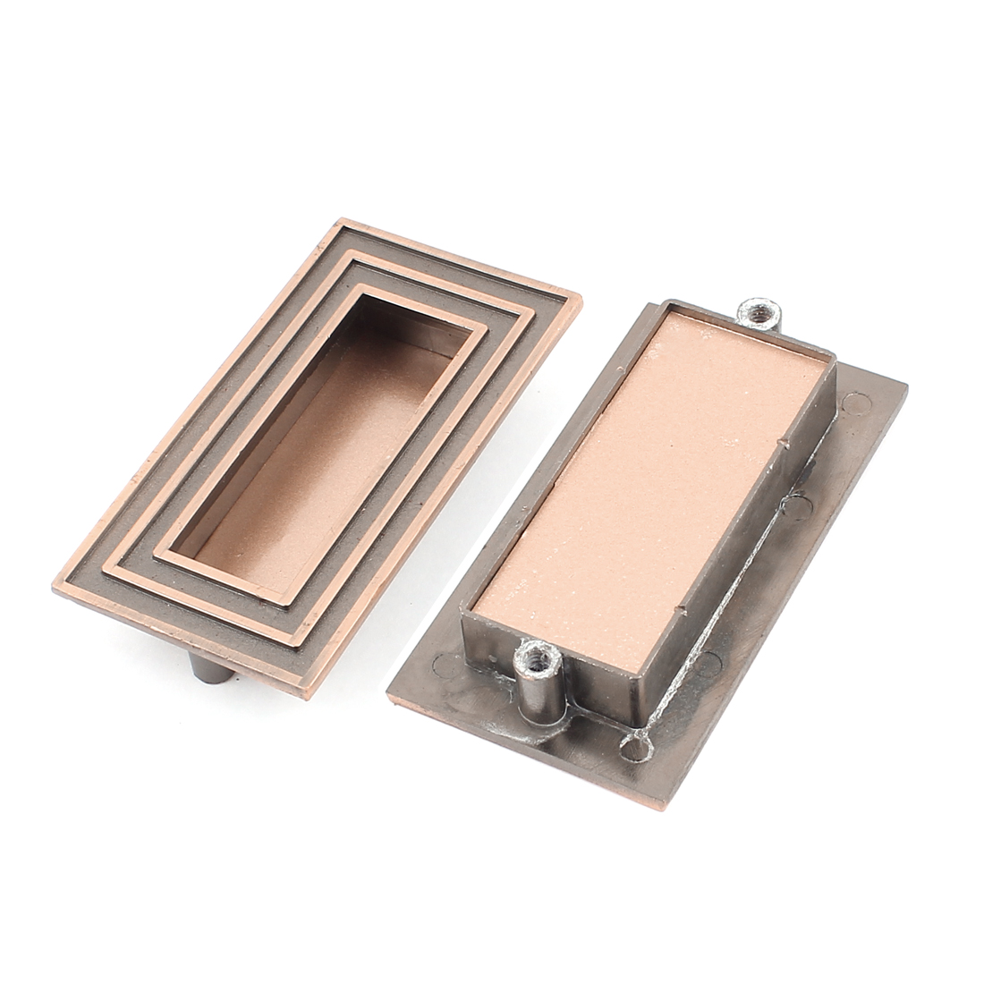 Furniture Hardware Groove Surface Metal Concealed Door Handle Copper Tone 2pcs