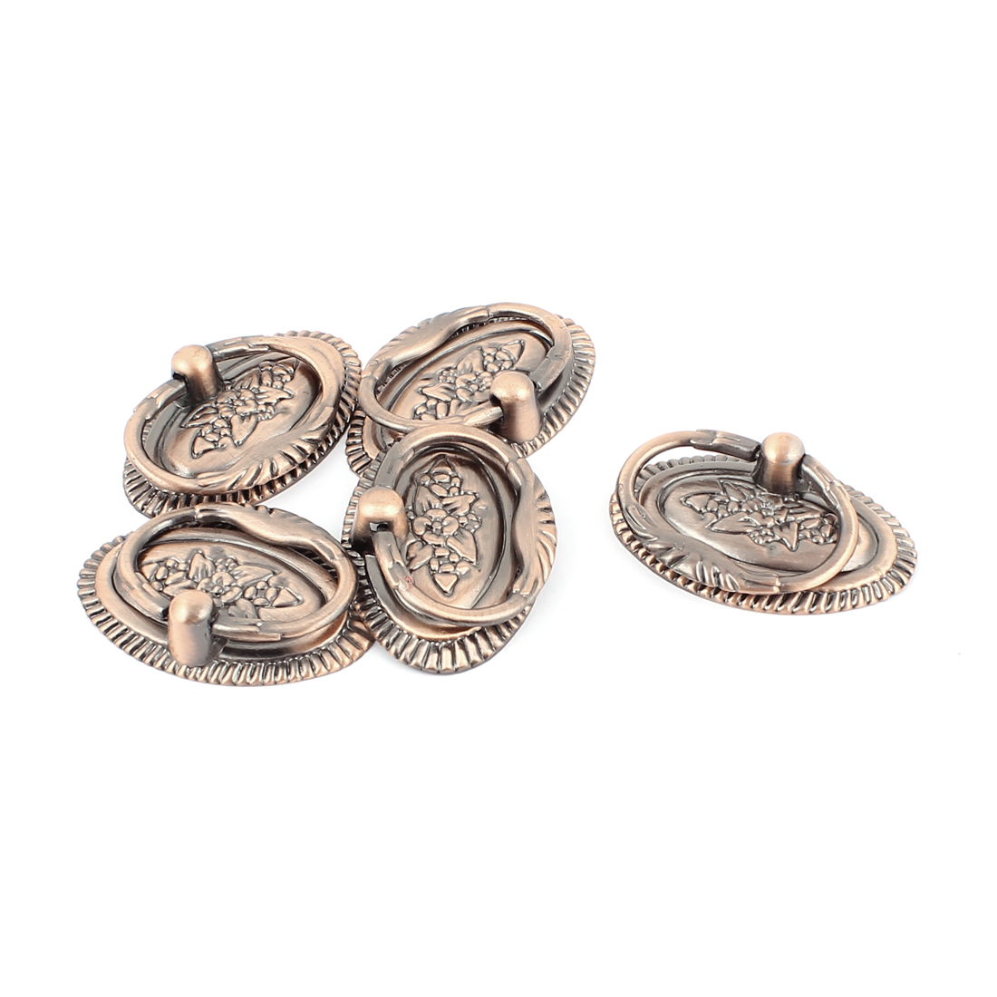Drawer Dresser Cupboard Door Vintage Style Ring Pull Handle Knobs Copper Tone 5pcs