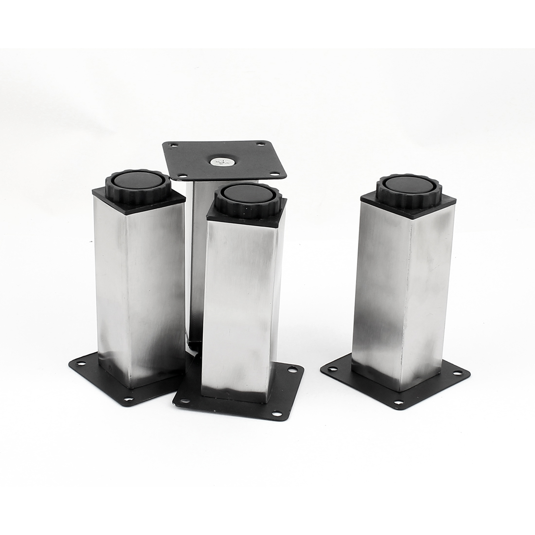 120mm x 38mm x 38mmn Metal Feet Adjustable Square Cabinet Legs Silver Tone 4pcs