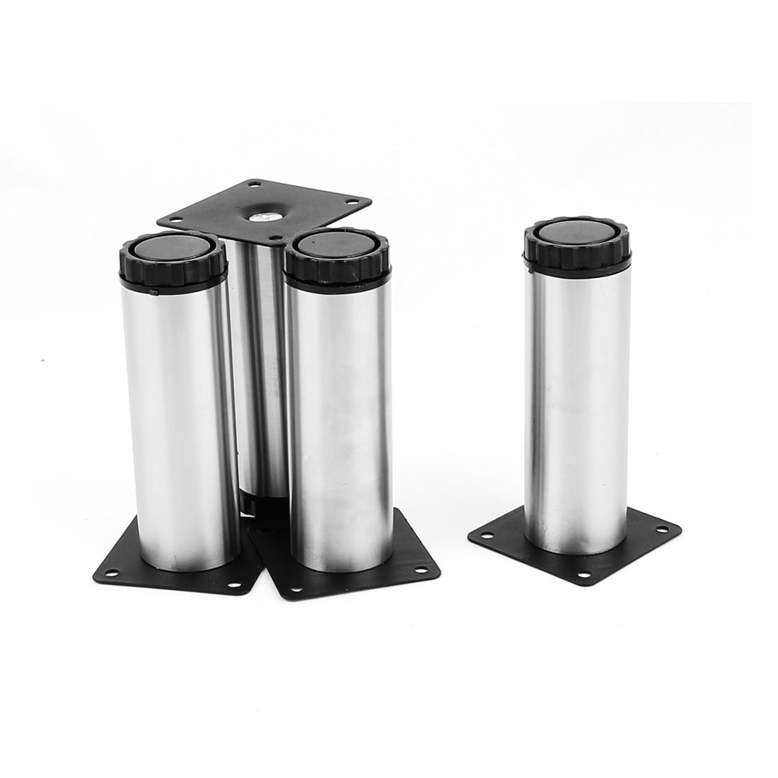 38mm x 120mm Stainless Steel Stand Round Metal Feet Adjustable Kitchen Cabinet Legs 4pcs