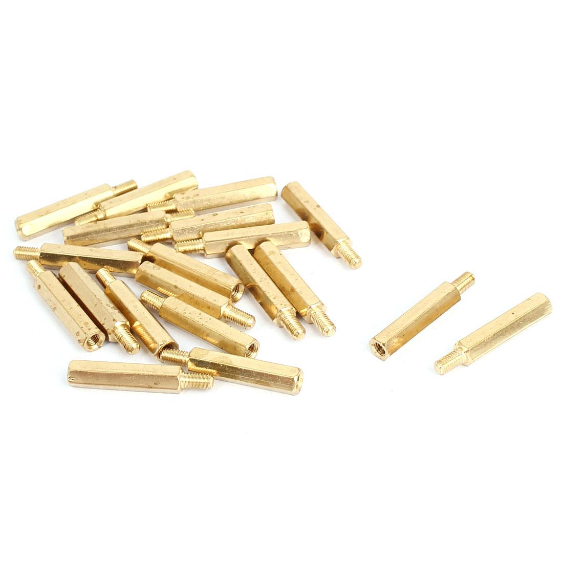 M3x21mm+6mm Male to Female Threaded Brass Hex Hexagonal Standoff Spacer Pillar 20pcs