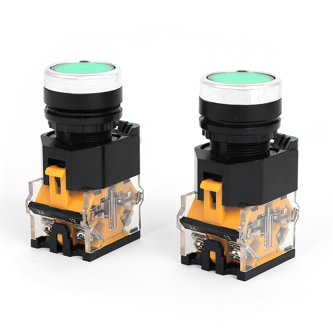 2pcs AC 220V Green Light LED Indicator Panel Mounted Self Locking Push Button Switch 660V 10A