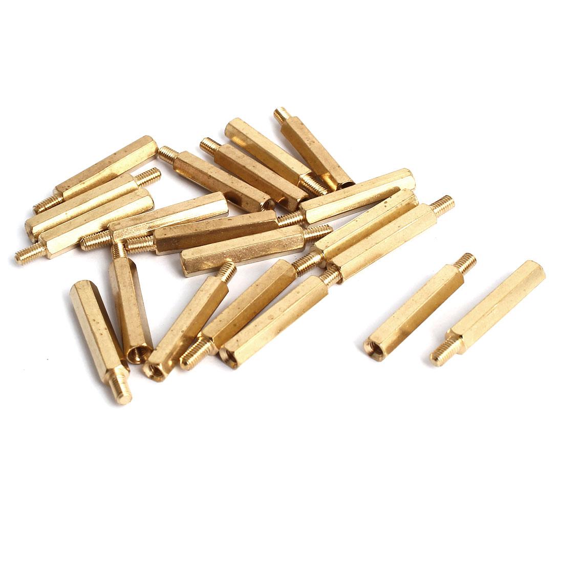 M3x23+6mm Male/Female Threaded Brass Hex Tapped Hexagonal Spacer Standoff Pillar 20pcs