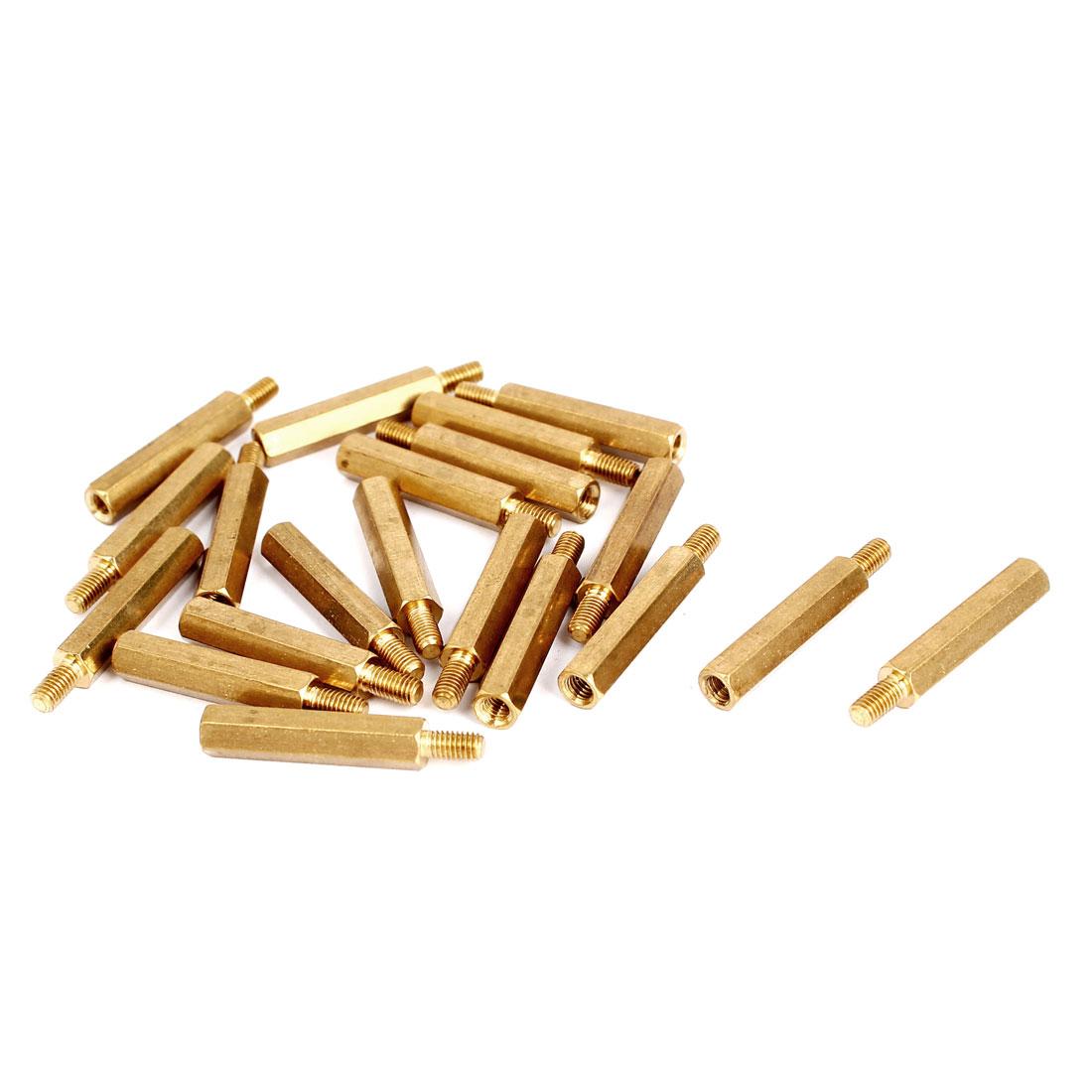 M3x22+6mm Male/Female Threaded Brass Hex Tapped Hexagonal Spacer Standoff Pillar 20pcs