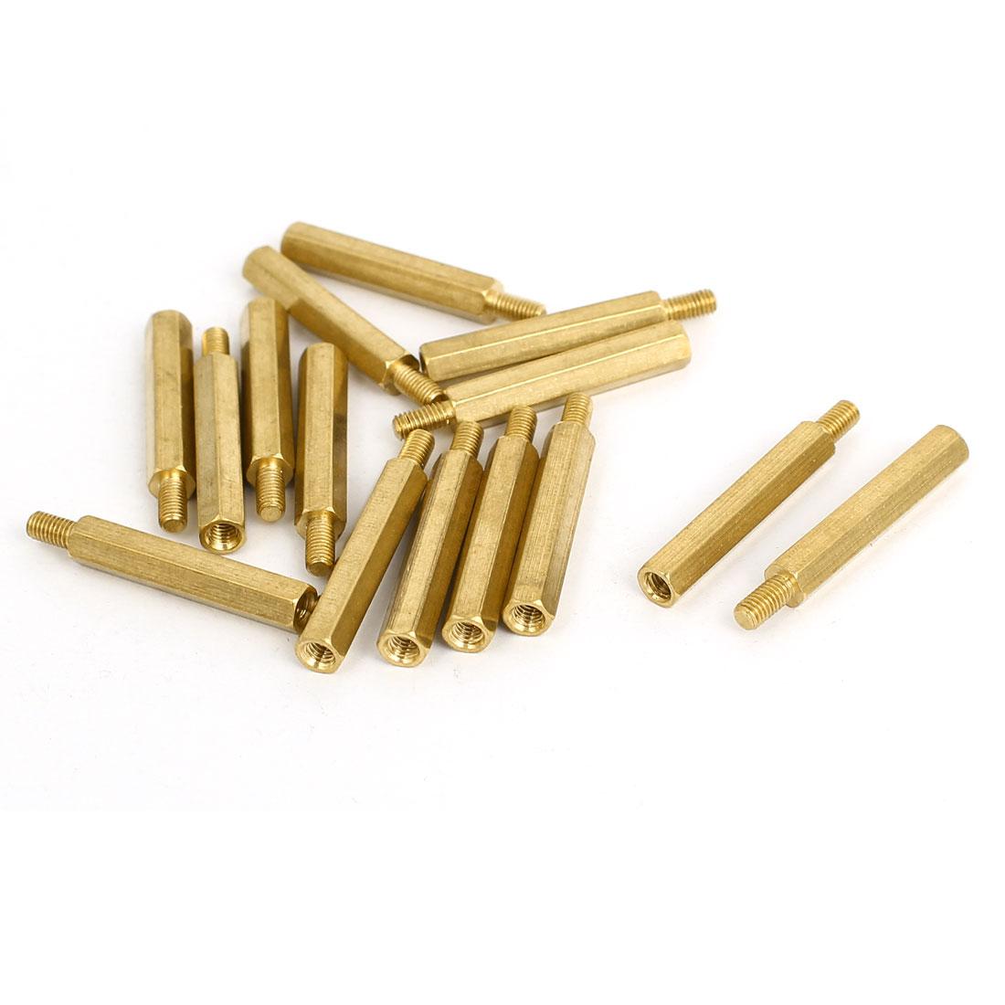 M3x26mm+6mm Brass Threaded Hex Hexagonal Male-Female Standoff Spacer Pillar 15pcs