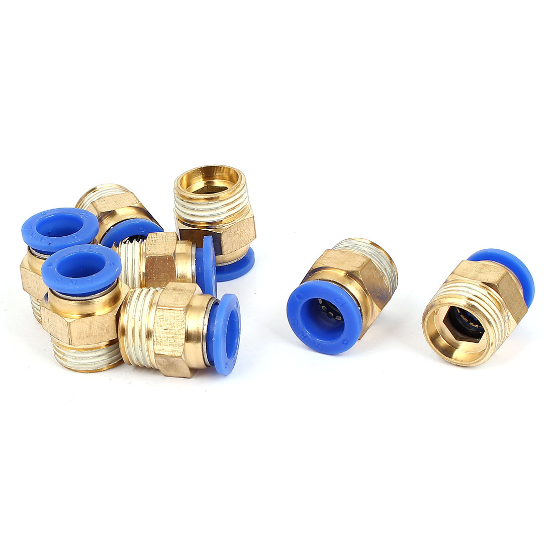 12mm Tube 1/2BSP Male Thread Straight Pneumatic Push In Quick Connect Fitting Coupler 8pcs