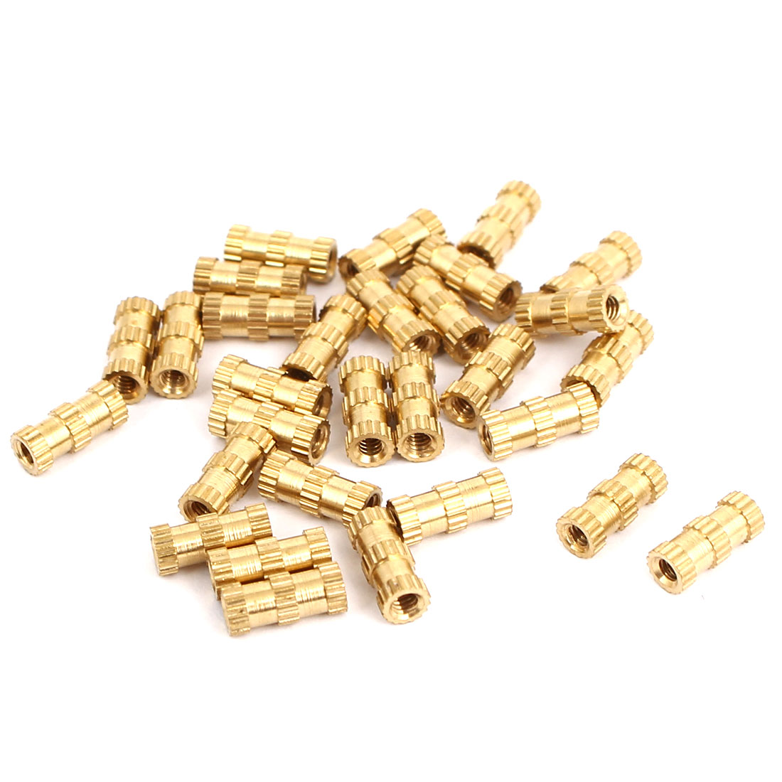 M2x8mmx3.5mm Brass Knurled Threaded Nut Insert Embedded Nuts Gold Tone 30pcs