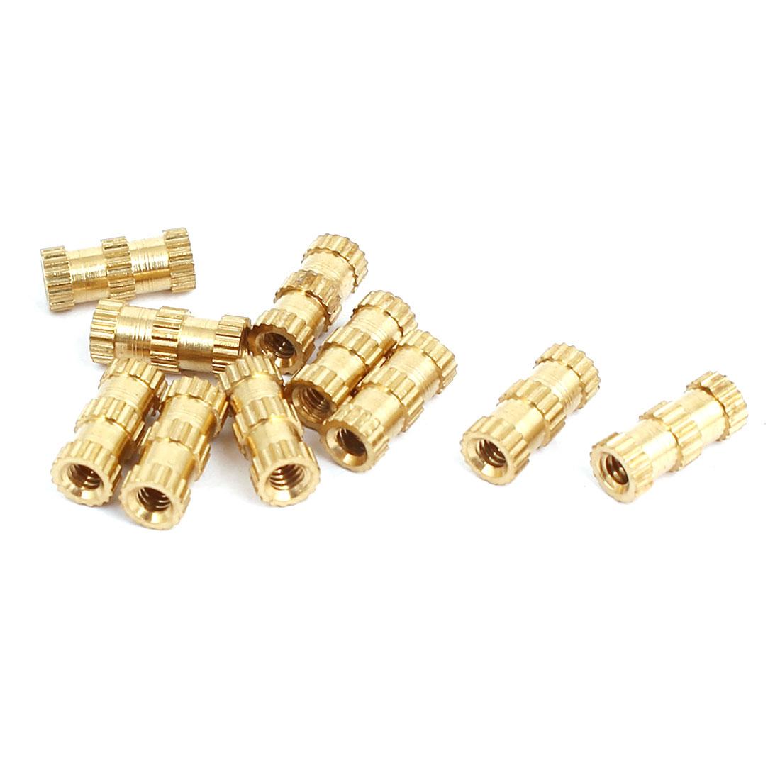 M2x8mmx3.5mm Brass Knurled Threaded Nut Insert Embedded Nuts Gold Tone 10pcs