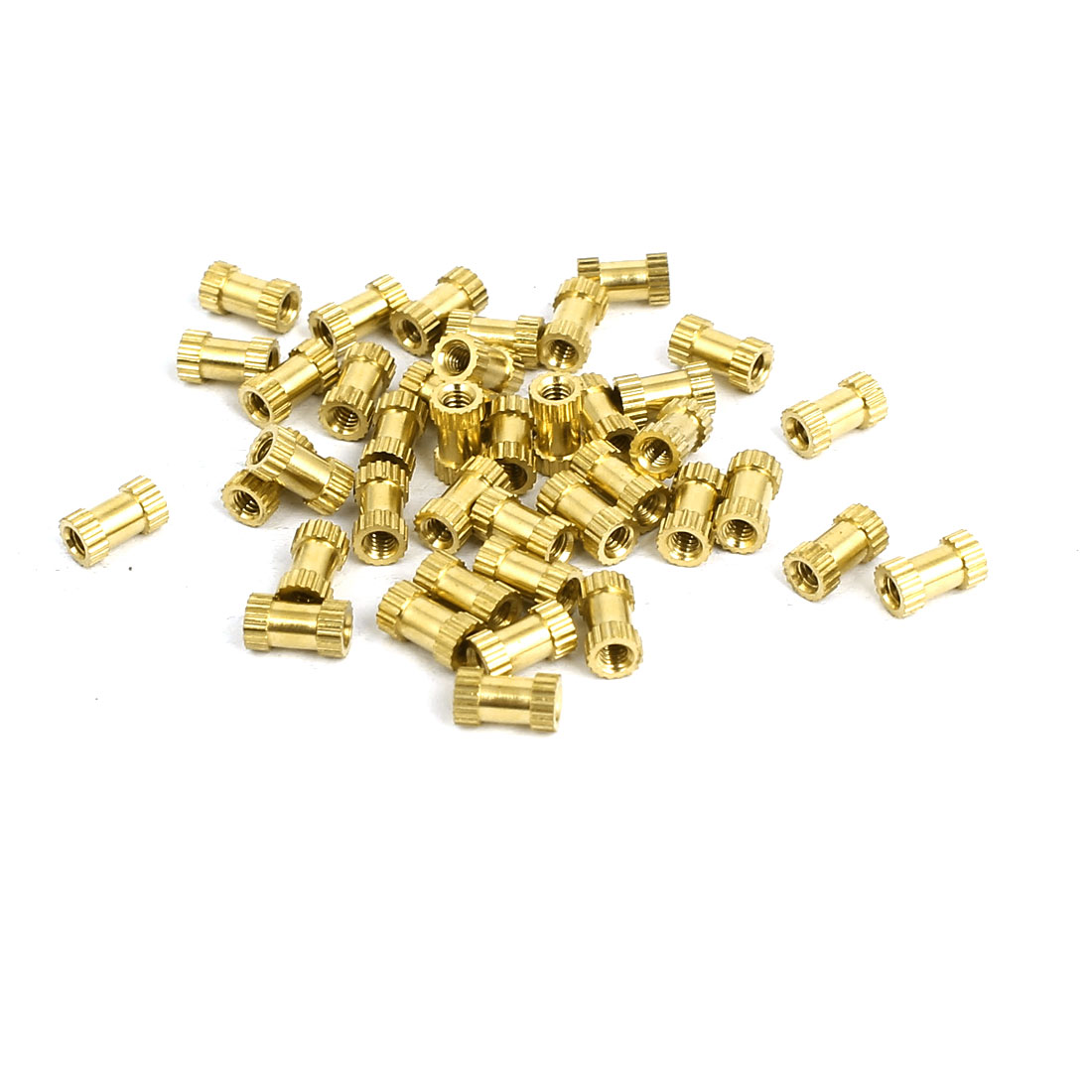 M2x6mmx3.5mm Female Threaded Brass Knurled Insert Embedded Nuts Gold Tone 40pcs