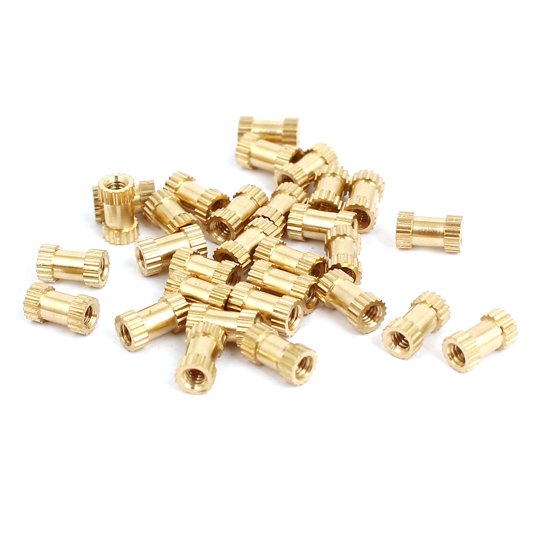 M2x6mmx3.5mm Female Threaded Brass Knurled Insert Embedded Nuts Gold Tone 30pcs