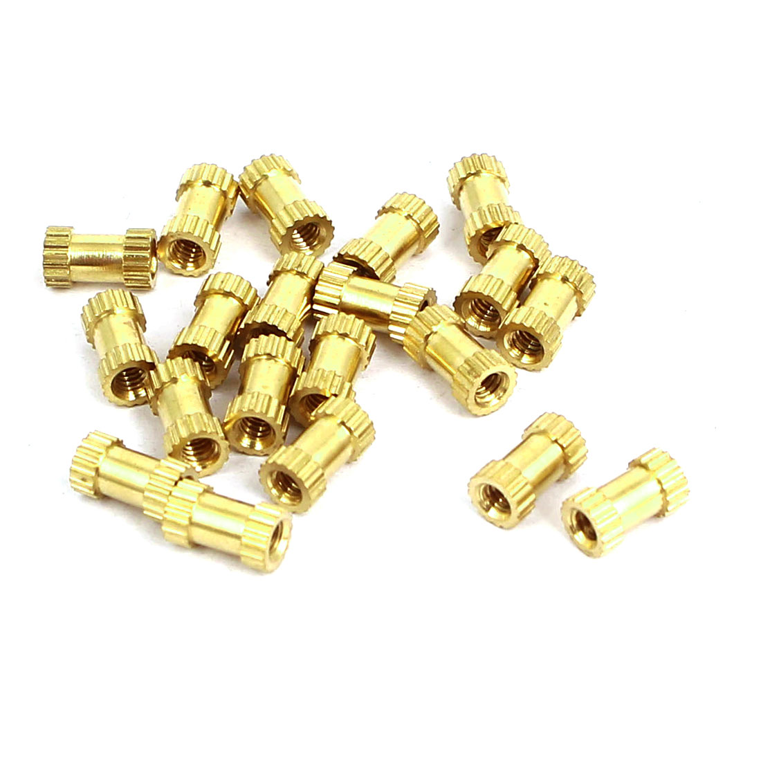 M2x6mmx3.5mm Female Threaded Brass Knurled Insert Embedded Nuts Gold Tone 20pcs