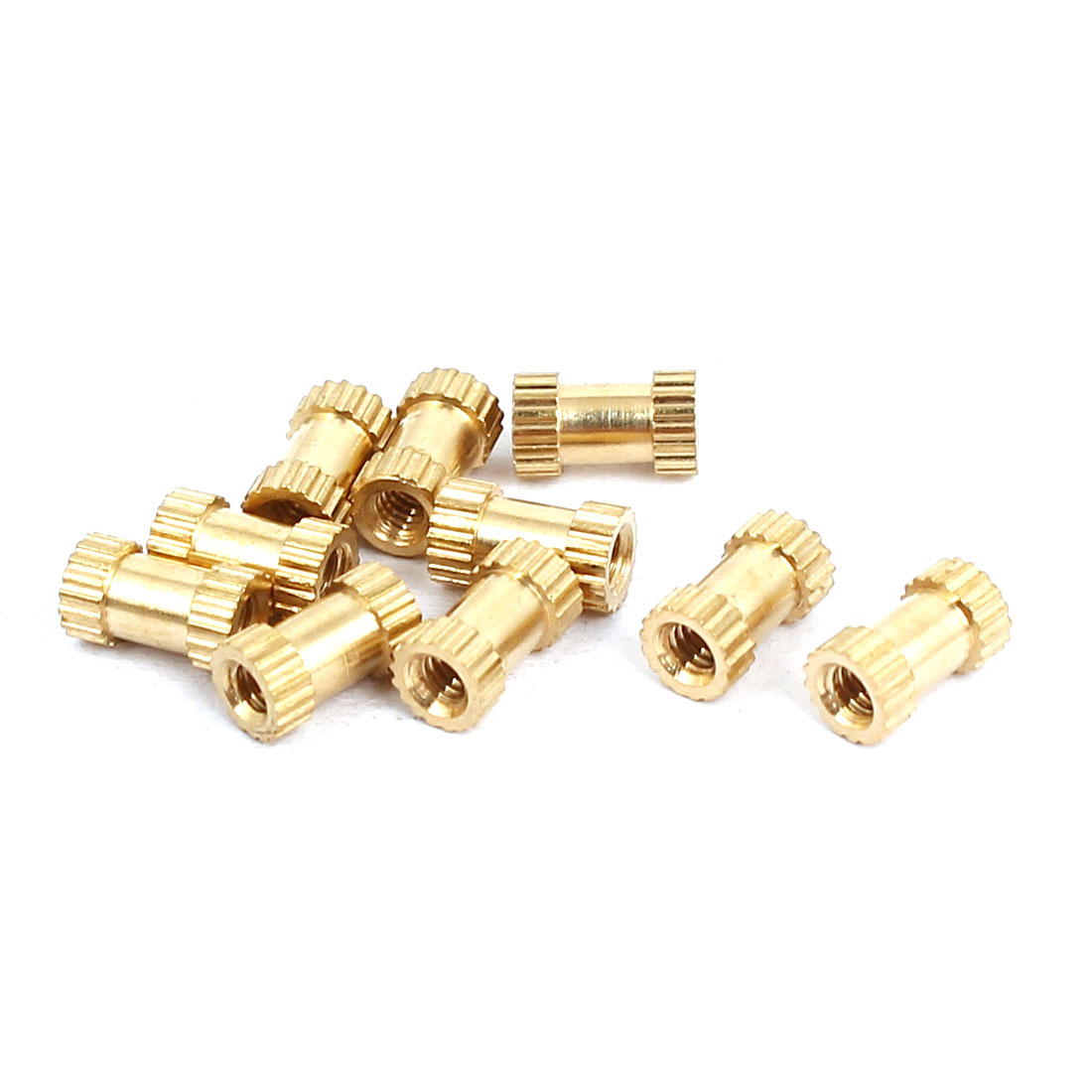 M2x6mmx3.5mm Female Threaded Brass Knurled Insert Embedded Nuts Gold Tone 10pcs
