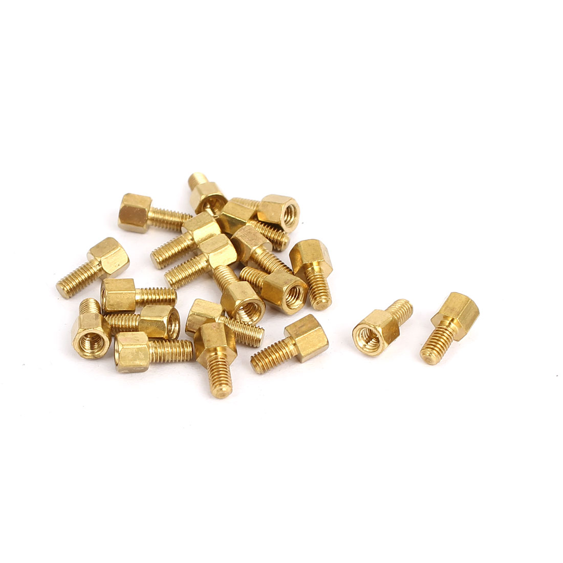M3 Male to Female Thread Insulated Brass Standoff Hexagonal Spacer 4+6mm Long 20pcs