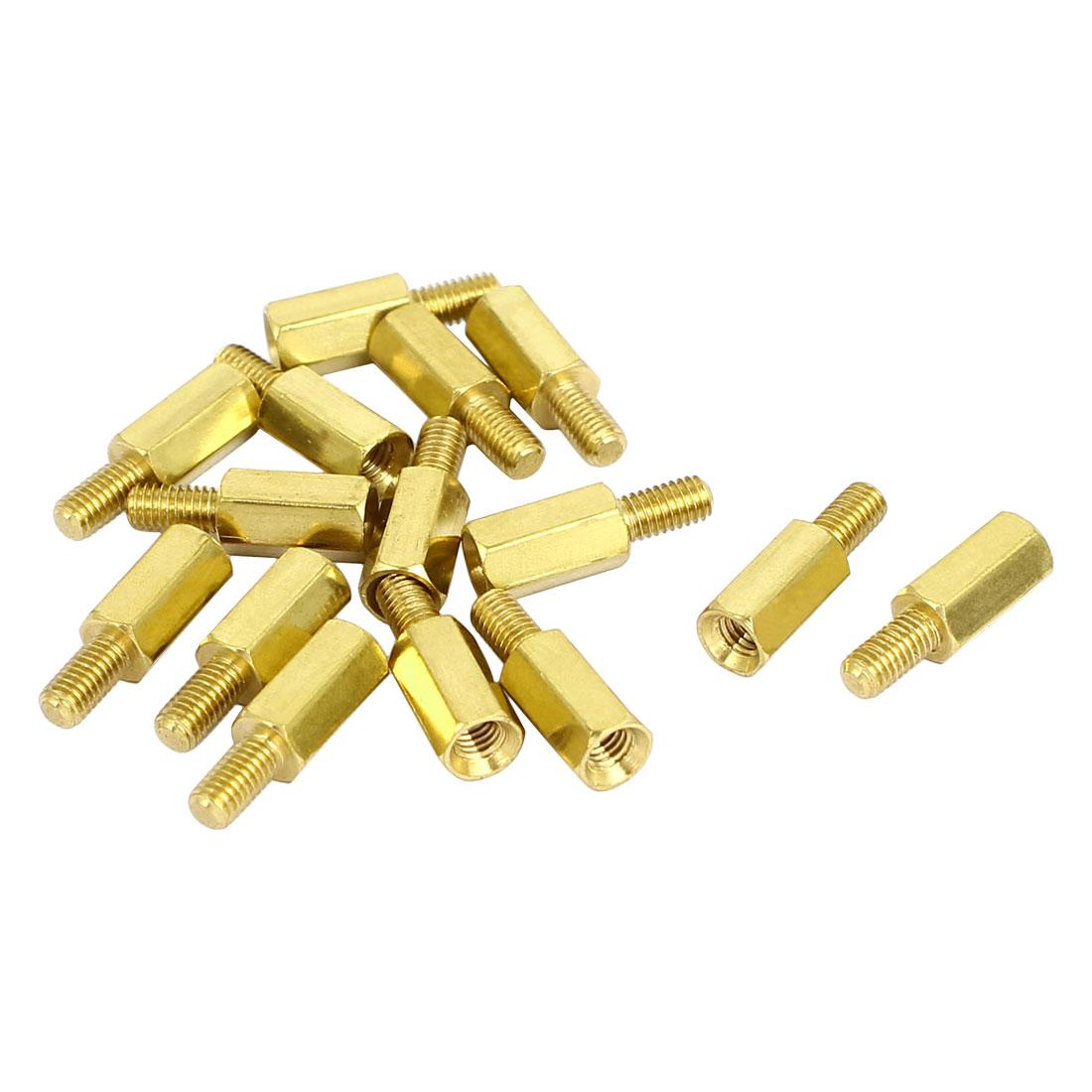 M3x9mm+6mm Male to Female Threaded Brass Hex Hexagonal Standoff Spacer Pillar 15pcs