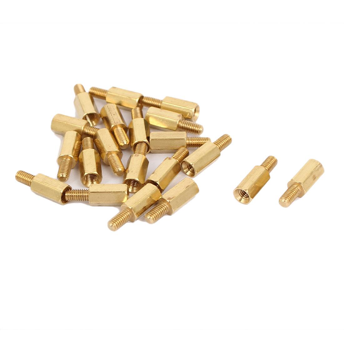 M3x9mm+6mm Male to Female Threaded Brass Hex Hexagonal Standoff Spacer Pillar 20pcs
