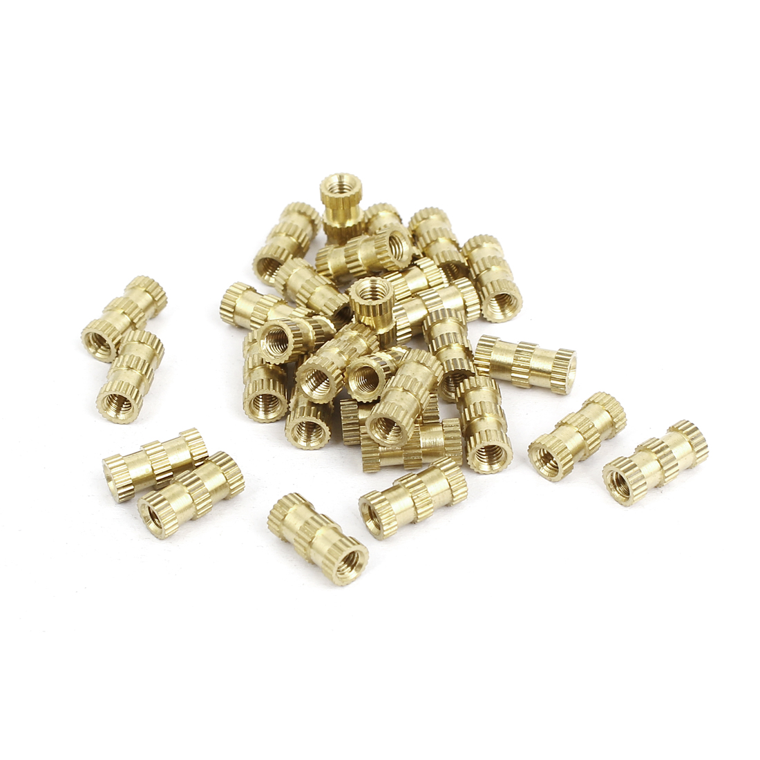 M3x10mmx4.8mm Brass Knurled Threaded Nut Insert Embedded Nuts Gold Tone 30pcs