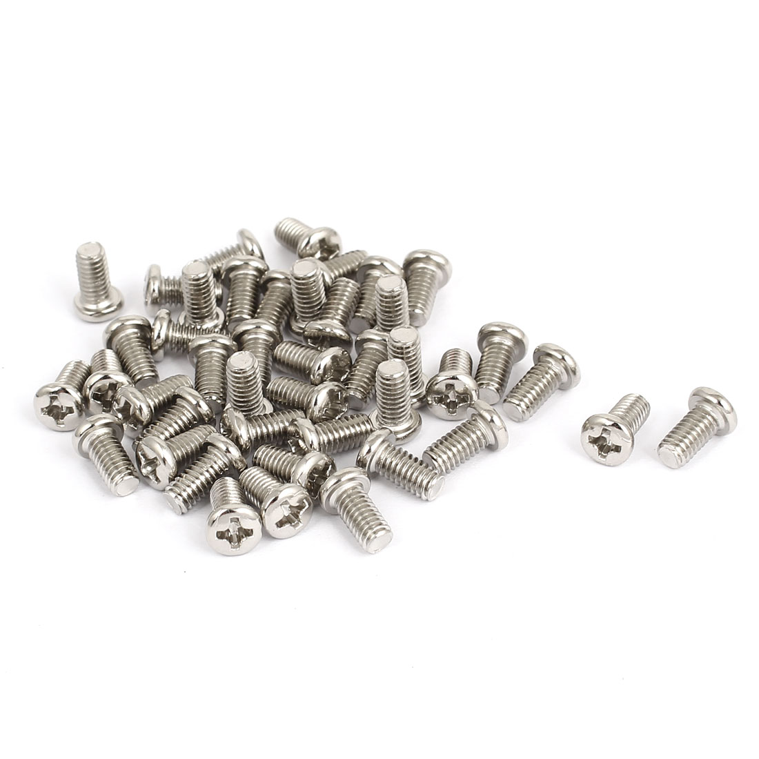 M4x8mm Thread 0.7mm Pitch Phillips Cross Head Bolt Machine Screw 40pcs