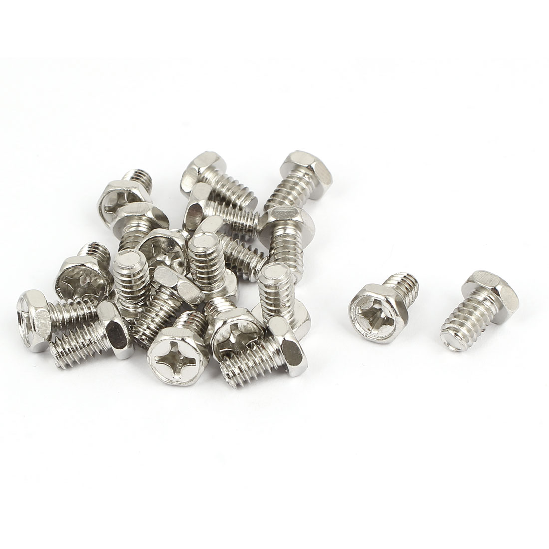 M6 x 1.25mm x 10mm Hex Bolts Tap Phillips Head Screws Fastener Silver Tone 20pcs