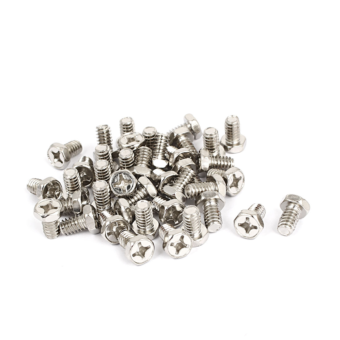 M6 x 10mm Hex Bolts Tap Phillips Head Screws Fastener Silver Tone 40pcs