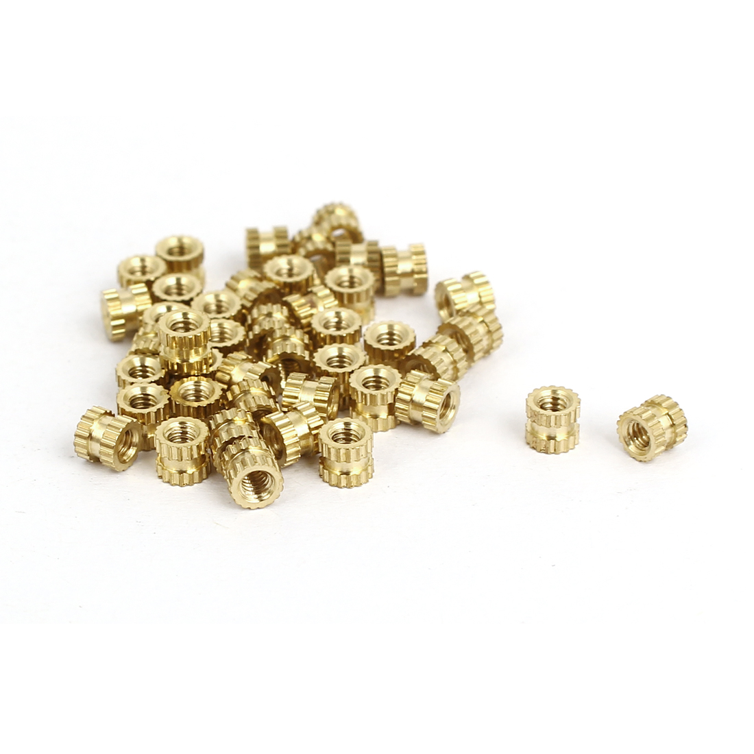 M2x3mmx3.5mm Female Threaded Brass Knurled Insert Embedded Nuts Gold Tone 40pcs
