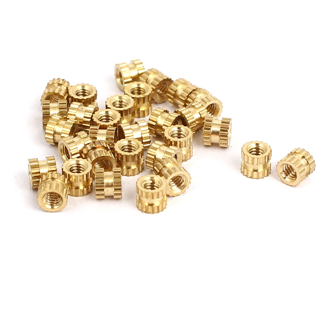 M2x3mmx3.5mm Female Threaded Brass Knurled Insert Embedded Nuts Gold Tone 30pcs