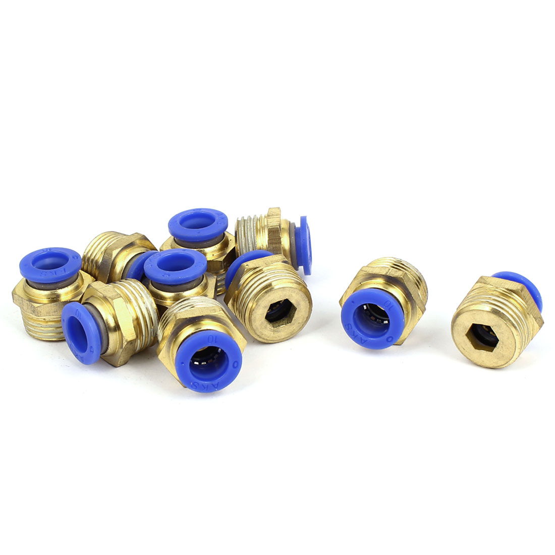 10pcs Pneumatic Flow Control Quick Fitting Coupler 10mm Tube to 1/2BSP Male Thread